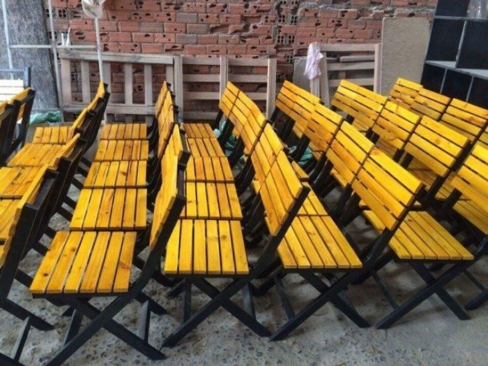 Thanh lý ghế xếp gỗ cho quán nhậu. Liên hệ: 0906843059 Lê Hoàng (24/24)0