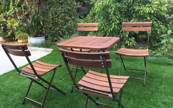 Bộ bàn ghế gỗ xếp cho cafe sân vườn0