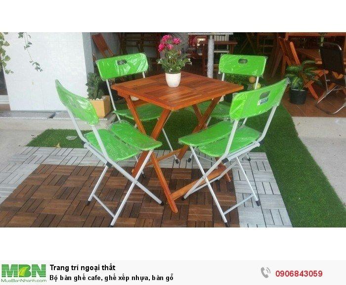 Bộ bàn ghế cafe, ghế xếp nhựa, bàn gỗ. Liên hệ: 0906843059 Lê Hoàng (24/24) Giao hàng toàn quốc.0
