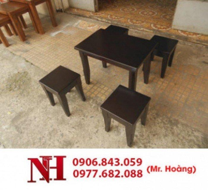 Bàn ghế gỗ cafe mini, 1 bàn 4 ghế nhỏ. Liên hệ: 0906843059 Lê Hoàng (24/24)0