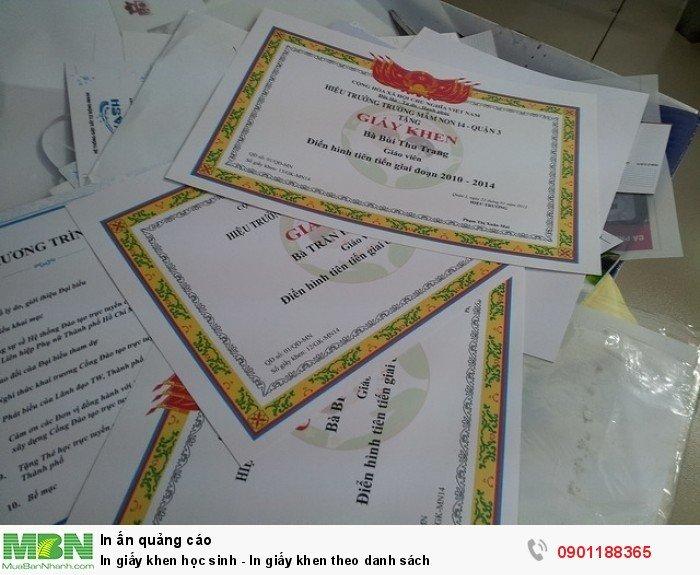 In giấy khen học sinh - In giấy khen theo danh sách