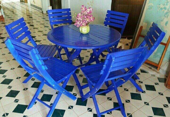 Bộ bàn ghế gỗ xếp kinh doanh cafe, bàn tròn. Liên hệ: 0906843059 Lê Hoàng (24/24)0