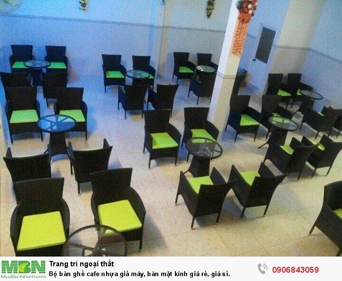 Bộ bàn ghế cafe nhựa giả mây, bàn mặt kính giá rẻ, giá sỉ. Liên hệ: 0906843059 Lê Hoàng (24/24)0