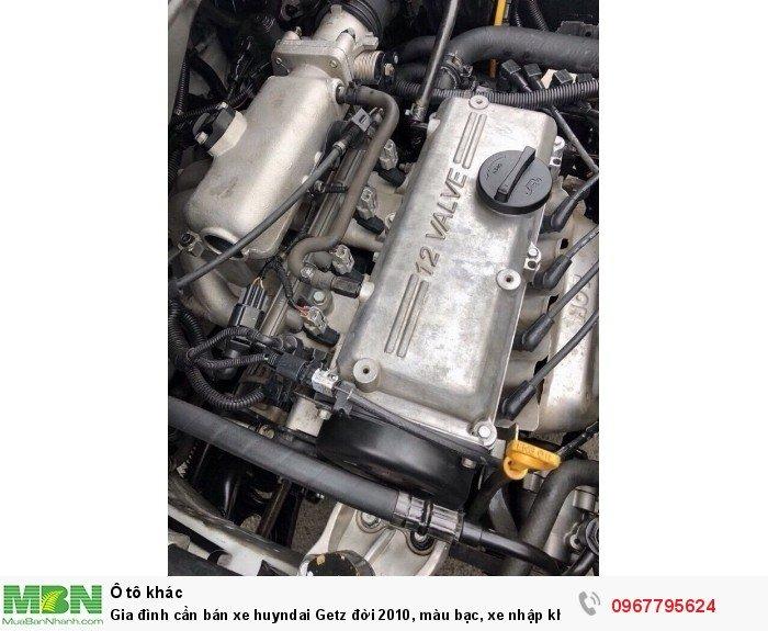 Gia đình cần bán xe huyndai Getz đời 2010, màu bạc, xe nhập khẩu Hàn Quốc, bản đủ, máy nổ êm 8