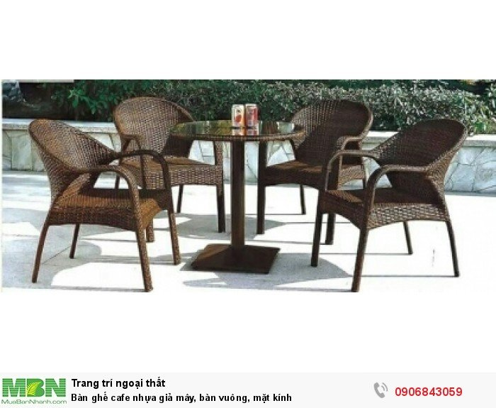 Bàn ghế cafe nhựa giả mây, bàn vuông, mặt kính. Liên hệ: 0906843059 Lê Hoàng (24/24)0