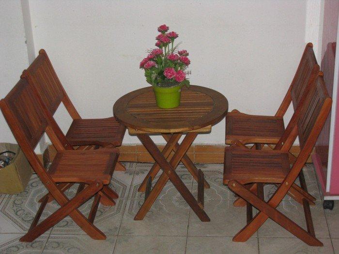 Bộ bàn ghế gỗ xếp cafe vỉa hè. Miễn phí vận chuyển số lượng.1