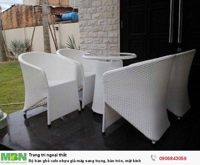 Bộ bàn ghế cafe nhựa giả mây sang trọng, bàn tròn, mặt kính. Liên hệ: 0906843059 Lê Hoàng (24/24)0
