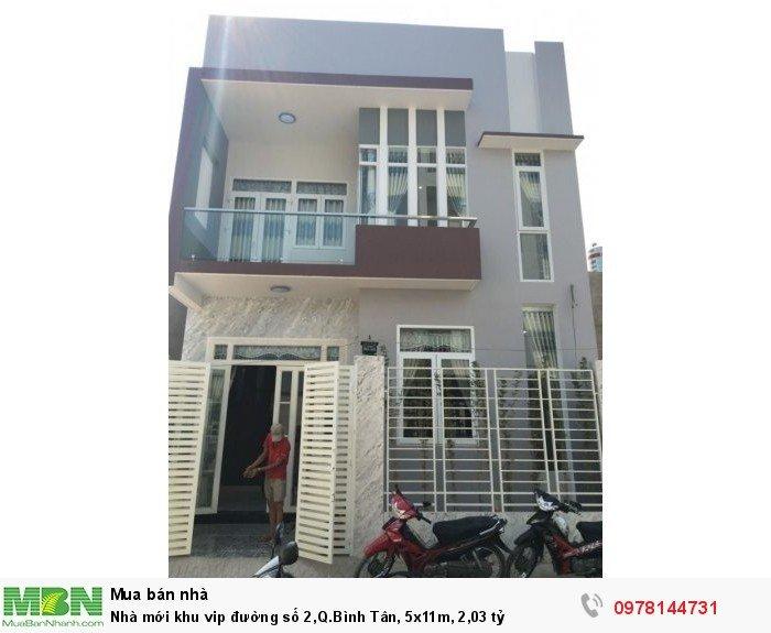 Nhà mới khu vip đường số 2,Q.Bình Tân, 5x11m