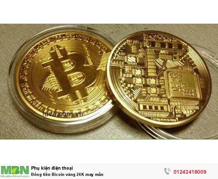 Đồng tiền Bicoin vàng 24K may mắn