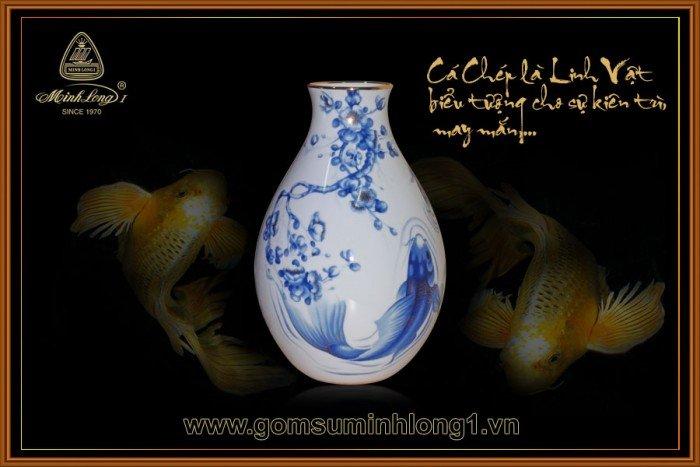 Bình hoa gốm sứ Minh Long I Cá chép cobalt 25cm 5025343542