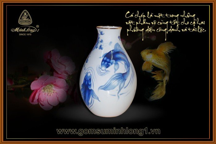 Bình hoa gốm sứ Minh Long I Cá chép cobalt 25cm 502534354