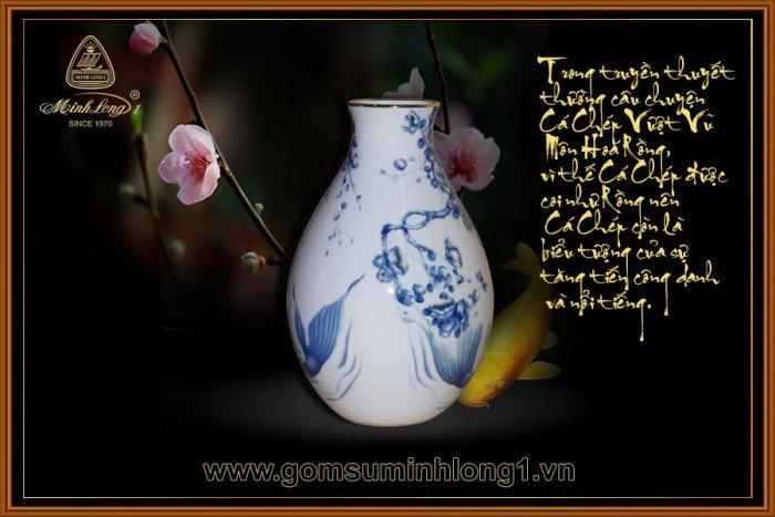 Bình hoa gốm sứ Minh Long I Cá chép cobalt 25cm 5025343540