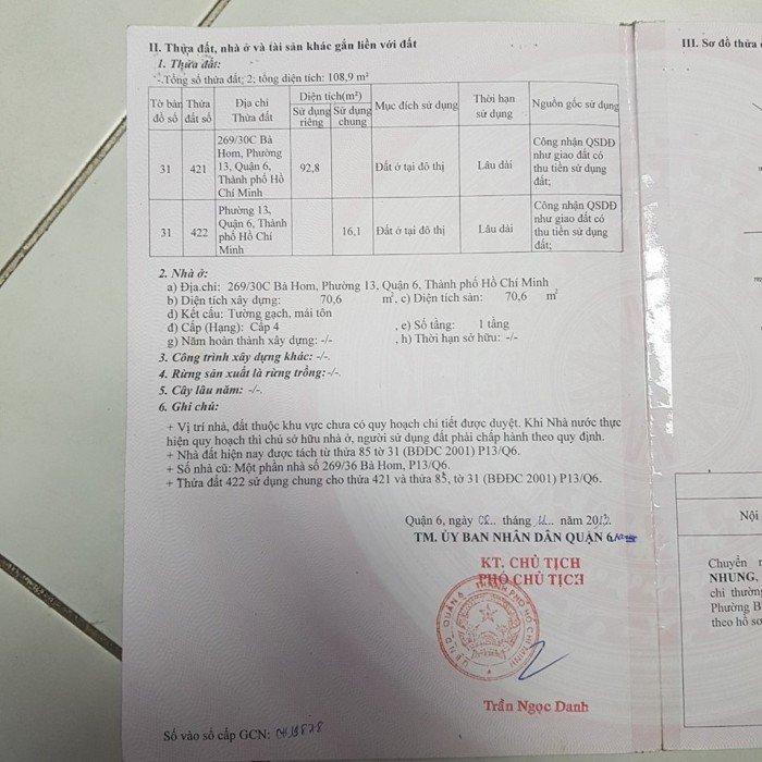 Bán nhà chính chủ, hẻm xe tải 269 Bà Hom