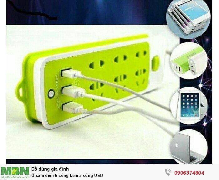 Ổ cắm điện 6 cổng kèm 3 cổng USB