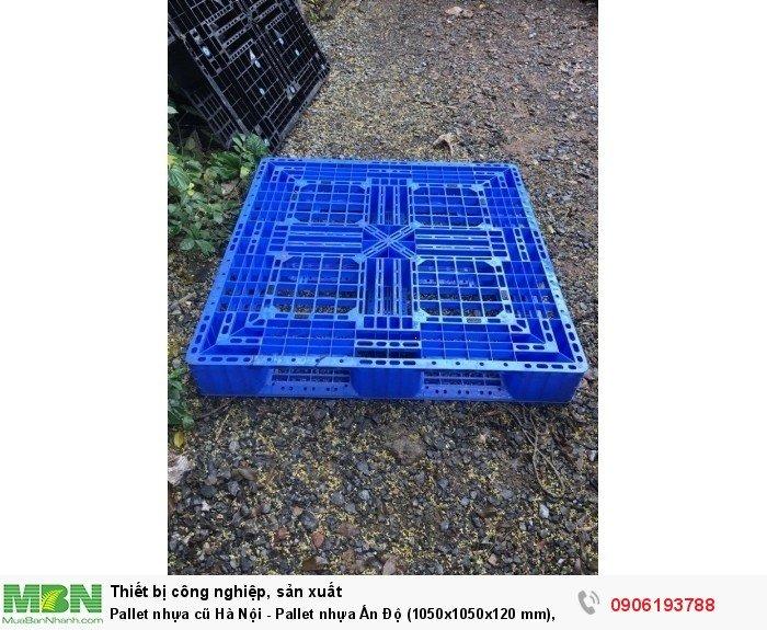 Pallet nhựa cũ Hà Nội - Pallet nhựa Ấn Độ (1050x1050x120 mm), màu xanh