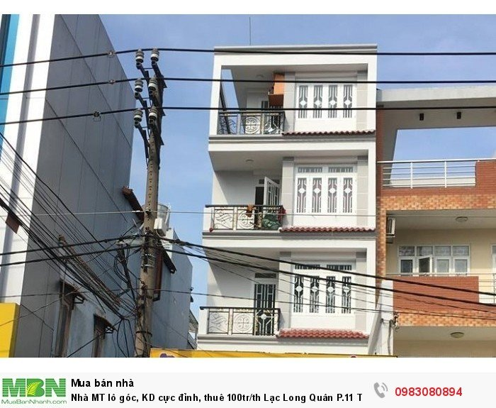 Nhà MT lô góc, KD cực đỉnh, thuê 100tr/th Lạc Long Quân P.11 Tân Bình, 85m