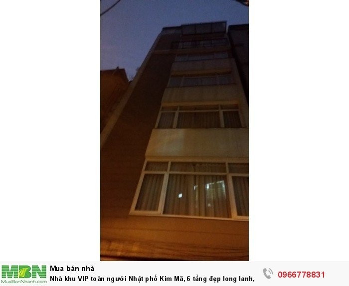 Nhà khu VIP toàn người Nhật phố Kim Mã, 6 tầng đẹp long lanh, ô tô tránh!