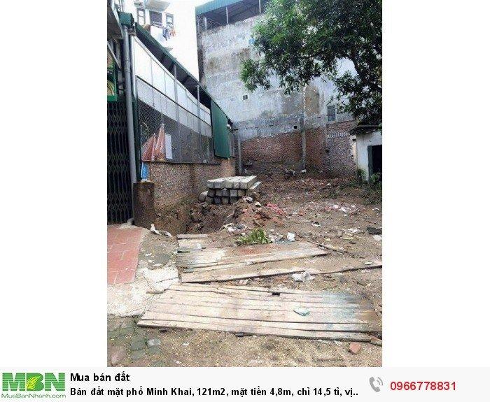 Bán đất mặt phố Minh Khai, 121m2, mặt tiền 4,8m, vị trí trung tâm!