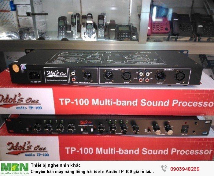 Thiết kế mặt sau bộ máy nâng tiếng hát Idol's One TP-100 khá đơn giản với cổng Audio dùng cho ampli gia đình và cổng Canon sử dụng với các thiết bị âm thanh chuyên nghiệp hiện đại.3
