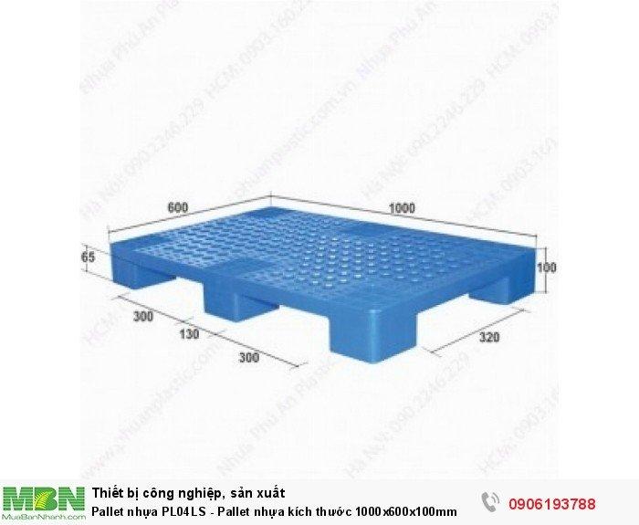 Pallet nhựa PL04LS - Pallet nhựa kích thước 1000x600x100mm. Liên hệ: 0906193788 (24/24 - Phòng Kinh Doanh)