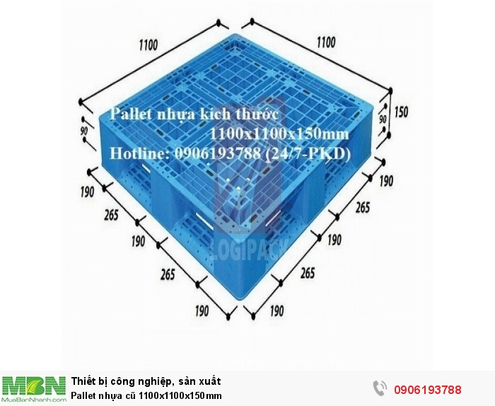 Pallet nhựa cũ 1100x1100x150mm Miễn phí vận chuyển số lượng lớn Liên hệ 0906193788 (24/24 - Phòng Kinh Doanh)1