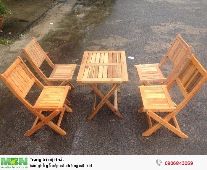 bàn ghế gỗ xếp cà phê ngoài trời0