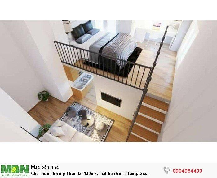 Cho thuê nhà mp Thái Hà: 130m2, mặt tiền 6m, 3 tầng. Vỉa hè rộng, đỗ xe cả ngày.