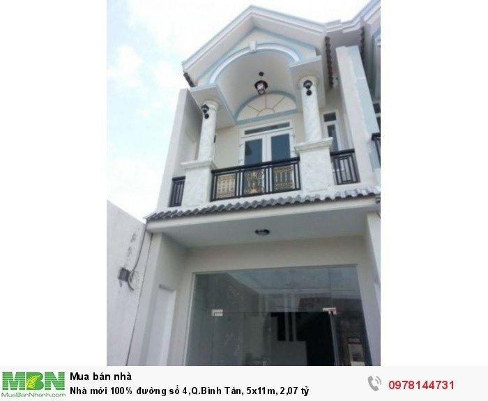Nhà mới 100% đường số 4,Q.Bình Tân, 5x11m