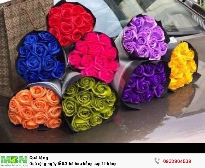 Quà tặng ngày lễ 8/3 bó hoa hồng sáp 12 bông0