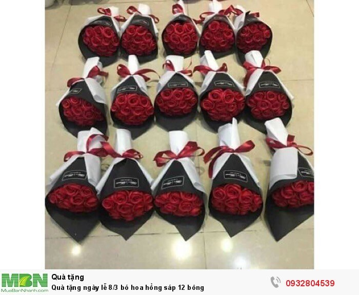 Quà tặng ngày lễ 8/3 bó hoa hồng sáp 12 bông1