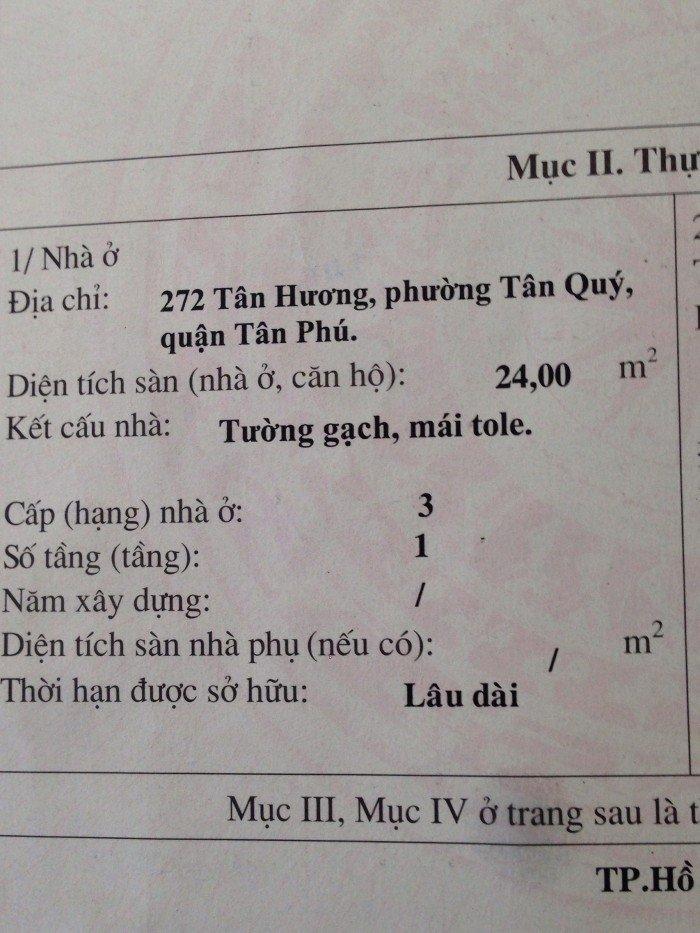 Cần bán nhà mặt tiền chính chủ đường Tân hương,Tân Phú