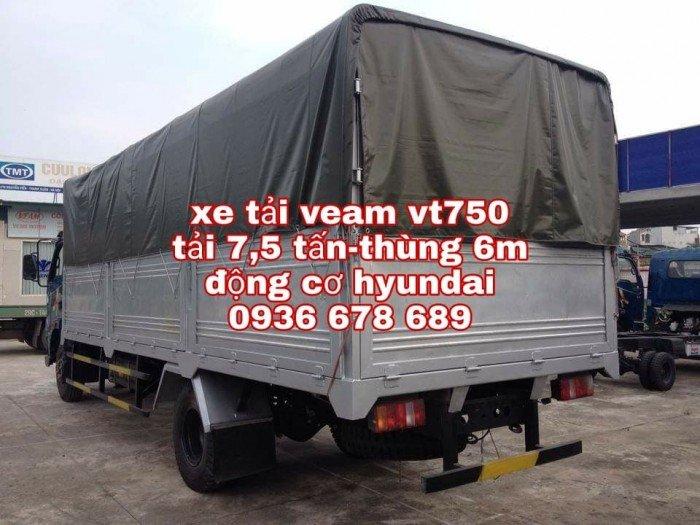 Xe tải veam vt750, tải trọng 7,5 tấn, động cơ Hyundai, thùng dài 6m1, giá rẻ nhất