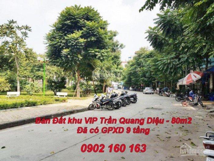 Bán đất, xây nhà 9 tầng, khu VIP Trần Quang Diệu, 80m2, MT 7m