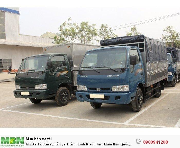 Giá Xe Tải Kia 2,5 tấn , 2,4 tấn , Linh Kiện nhập khẩu Hàn Quốc, Bán Xe tải Trả Góp