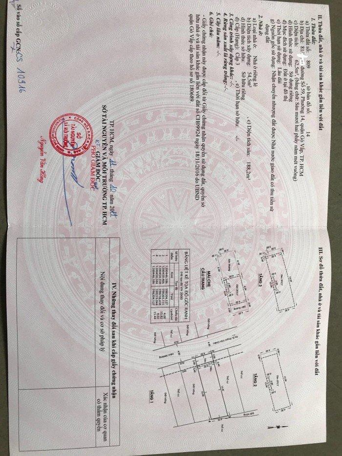 Nhà chính chủ đường Số 59, Phường 14, Gò Vấp, HCM