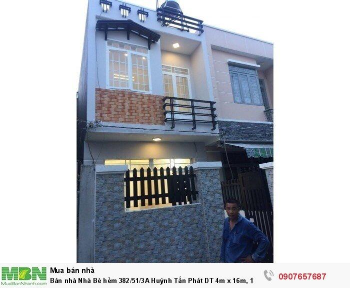 Bán nhà Nhà Bè hẻm 382/51/3A Huỳnh Tấn Phát DT 4m x 16m, 1 lầu, 3 PN