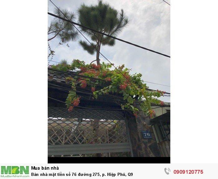 Bán nhà mặt tiền số 76 đường 275, p. Hiệp Phú, Q9