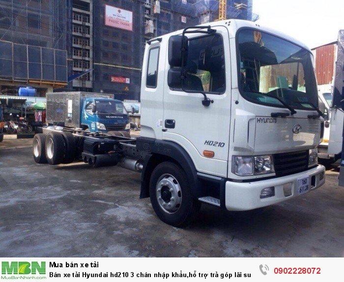 Bán xe tải Hyundai hd210 3 chân nhập khẩu,hỗ trợ trả góp lãi suất thấp,giao xe ngay.