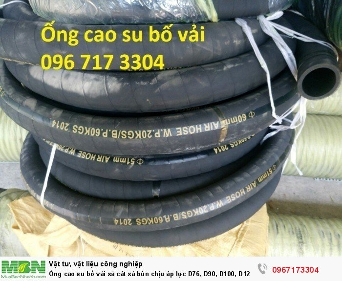 Ống cao su bố vải  D76, D90, D100, D120, D125, D150,.... D3001