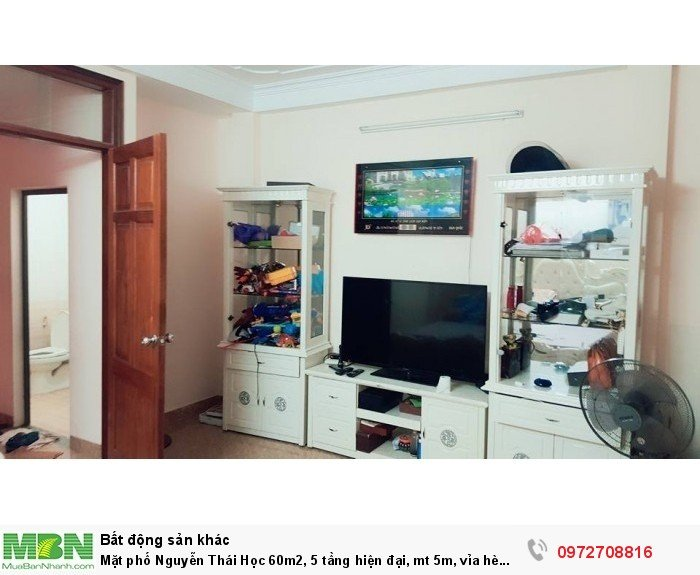 Mặt phố Nguyễn Thái Học 60m2, 5 tầng hiện đại, mt 5m, vỉa hè rộng, KD 50tr/tháng