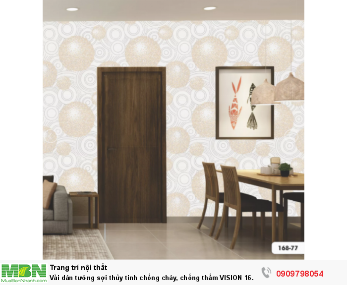 Vải dán tường sợi thủy tinh chống cháy, chống thấm  VISION 16 168-77