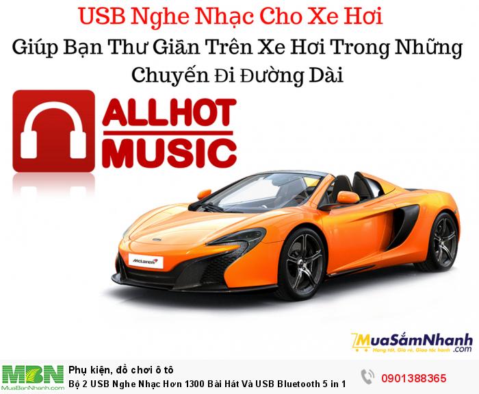 Bộ 2 USB Nghe Nhạc Hơn 1300 Bài Hát Và USB Bluetooth 5 in 1 Cho Xe Hơi - MSN388330 1