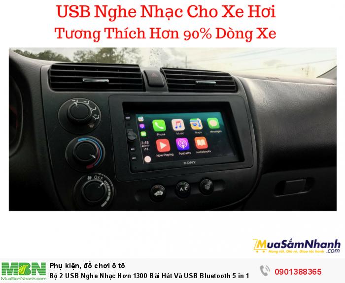 Bộ 2 USB Nghe Nhạc Hơn 1300 Bài Hát Và USB Bluetooth 5 in 1 Cho Xe Hơi - MSN388330