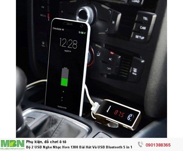 Bộ 2 USB Nghe Nhạc Hơn 1300 Bài Hát Và USB Bluetooth 5 in 1 Cho Xe Hơi - MSN388330 3