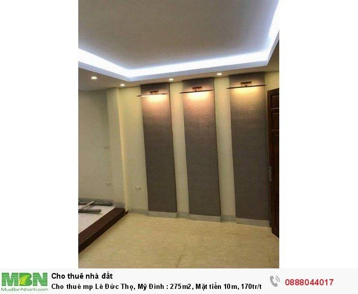 Cho thuê mp Lê Đức Thọ, Mỹ Đình : 275m2, Mặt tiền 10m, 170tr/th, 7 tầng. Karaoke, Khách sạn Vip.