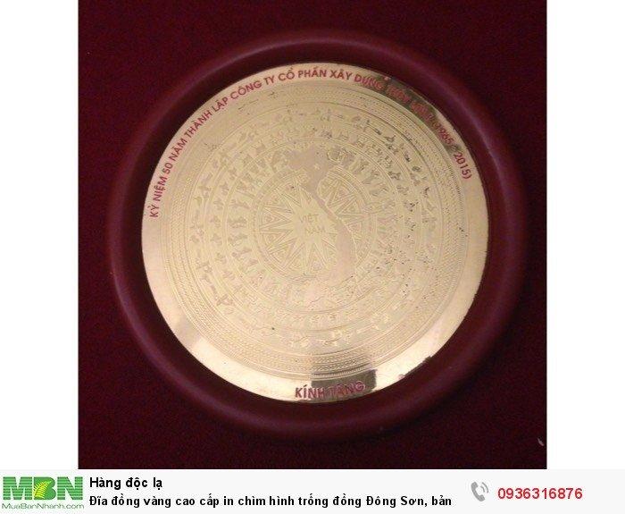 Đĩa đồng vàng cao cấp in chìm hình trống đồng Đông Sơn, bản đồ Việt Nam rất tinh xảo0