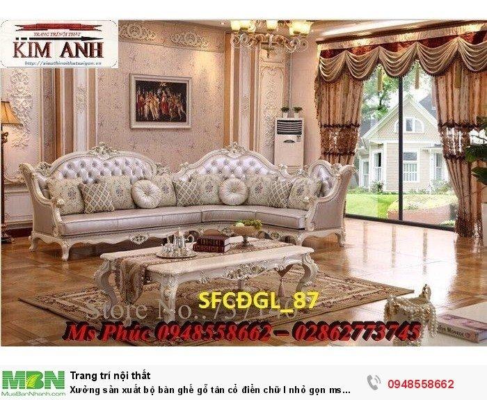 Xưởng sản xuất bộ bàn ghế gỗ tân cổ điển chữ l nhỏ gọn ms SFCĐGL_81 - nội thất Kim Anh6