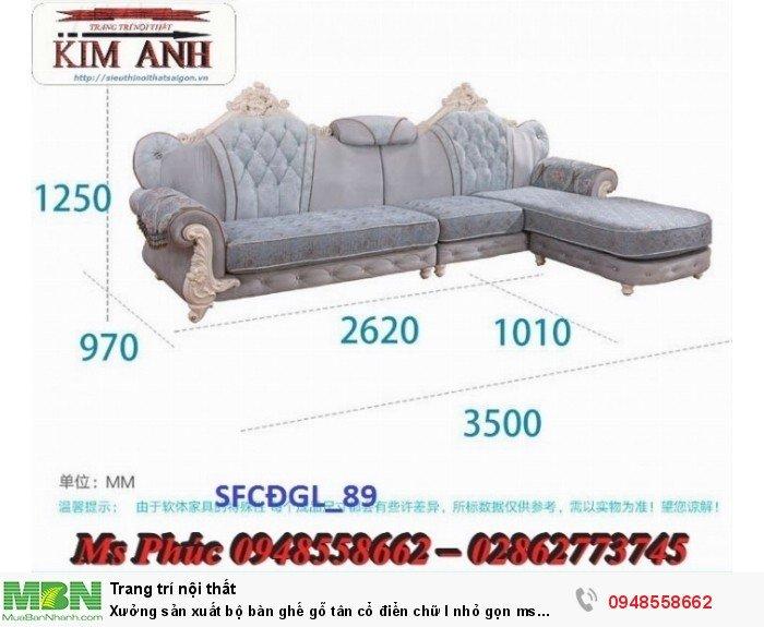 Xưởng sản xuất bộ bàn ghế gỗ tân cổ điển chữ l nhỏ gọn ms SFCĐGL_81 - nội thất Kim Anh8