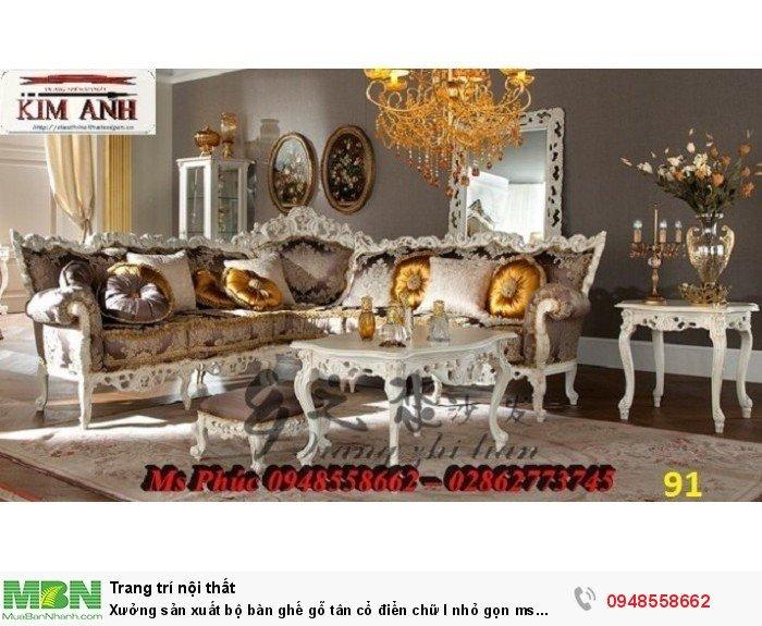 Xưởng sản xuất bộ bàn ghế gỗ tân cổ điển chữ l nhỏ gọn ms SFCĐGL_81 - nội thất Kim Anh10