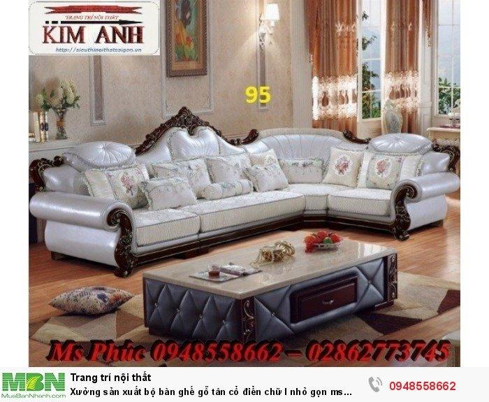 Xưởng sản xuất bộ bàn ghế gỗ tân cổ điển chữ l nhỏ gọn ms SFCĐGL_81 - nội thất Kim Anh14